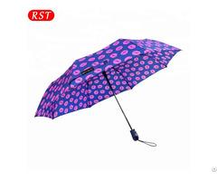 Rst Fashion Lips Rain Woman Three Folding Umbrella