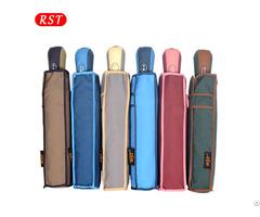 Rst Hot Sale Single Color Auto Open Close Small Portable 3 Folding Umbrella