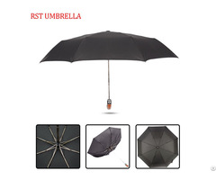 Rst Black Windproof Bent Handle 3 Folding Brazil Umbrella