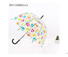 Rst Promotions Clear Colorful Owl Design Transparent Umbrella For Wholesale