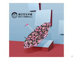 Rst Flower Design Five Folding Small Umbrella