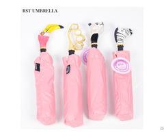 Rst Flamingo Originality Three Fold Sun And Uv Protection Sunshade Creative Handle Umbrella