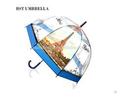 Rst Printed With World Famous Scenery Tower Design Poe Straight Umbrella