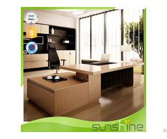 Modern Executive Desk Office Table Design Durable With Safe Box Position And Tea Cabinet