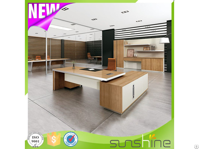 New Design Luxury Thicken Desktop With Aluminum Edge Banding Office Executive Desk Bs Z1890