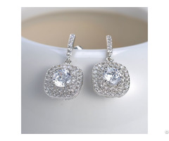 Custom Handmade Drop Cz Diamond Real Sterling 925 Silver Plated Studs Earrings Jewelry