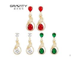Stylish Jewelry Colorful Big Stone 18k Dubai Gold Plating Earring