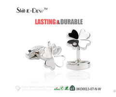 Wholesale Customized Four Leaf Clover Designed Christmas Gift 925 Sterling Silver Plated Cufflinks
