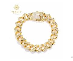 Miami Cuban Link Mens Gold Hand Chain Bracelet