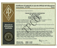 Certificate Of Authority To Use Api Relative License For Steel Pipe