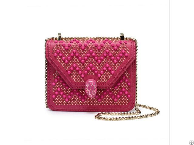 Fashion Joker Solid Color Snap Rivets Small Square Shoulder Messenger Leather Bags