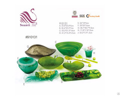 Voice Of Nature Translucent Resin Green Swirl Salad Bowls