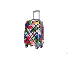 China Customized Light Weight Pc Trolley Luggage Manufacture With Full Printing