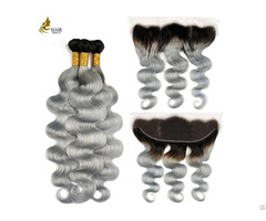 "Ombre Brazilian 1b Grey Remy Body Wave Hair Weaving 8"" 32"""