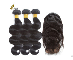 Pre Colored Brazilian Hair Body Wave 3 Bundles With 360 Lace Frontal Closure