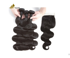 Natural Black Ladys Extensions Brazilian Human Hair With Closure