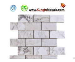 White Brick Mosaic Tile Floor Bathroom