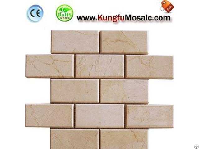 Brick Beige Marble Mosaic Tile Bathroom