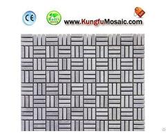 Three Lined Gray Marble Mosaic Brick