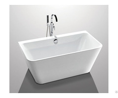 Glossy Solid Surface Acrylic Free Standing Bathtub Indoor Square Shaped Yx 761k