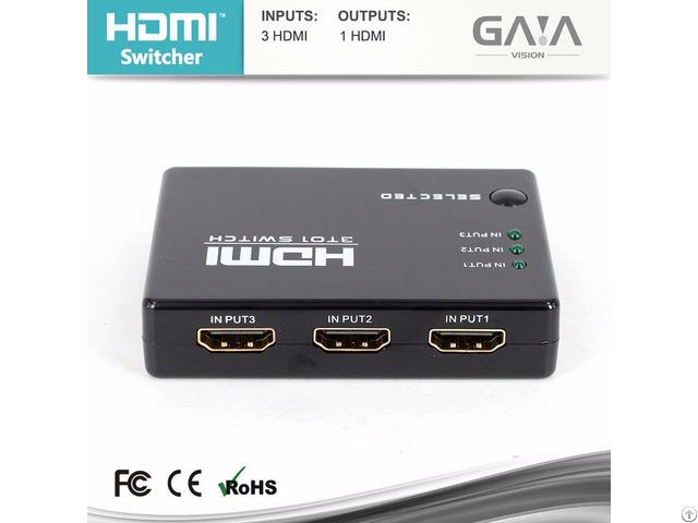 Mini Ir Remote 3 Port Hdmi Switch 3x1 1080p 1 3v
