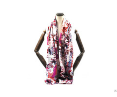 High Quality Purple Printed Custom Designsilk Wool Scarf