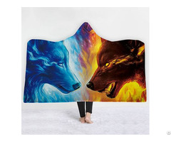 3d Wolf Printing Fleece Double Throw Hooded Blanket