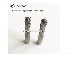 Three Flutes Compression Router Bits Solid Carbide Up Down Cut Spiral End Mills