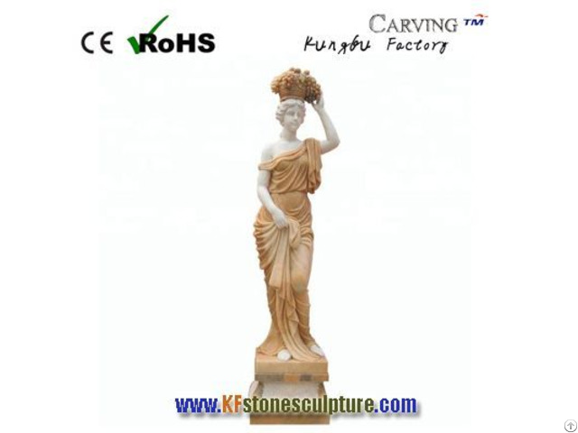 Deep Yellow Marble Stone Female Statue