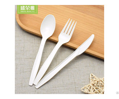 "7"" Disposable Corn Starch Flatware Set"