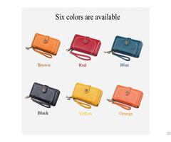 Customized Oil Wax Leather Card Bag Long Zipper Women Wallet Three Fold Wallets