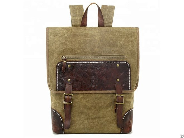 Hot Sale Vintage Outdoor Leisure Man Travel Waxed Canvas Backpack