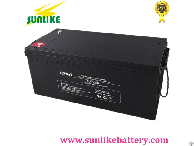 Sunlike Sealed Rechargeable Agm Lead Acid Solar System Battery 12v 200ah