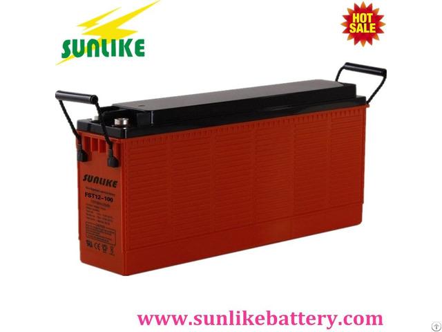 Sunlike Front Access Terminal 12v100ah Sla Deep Cycle Battery For Telecom