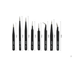 Professinal Manufacturer Hrc 40 Vetus Stainless Steel Silver Gold Black Eyelash Tweezers Kit