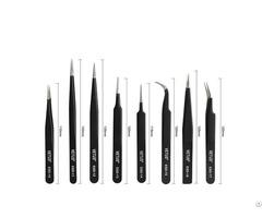 Professinal Manufacturer Hrc 40 Vetus Stainless Steel Silver Gold Black Eyelash Tweezers Kit