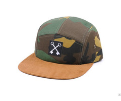 Camouflage 5 Panel Baseball Cap With Metal Eyelet