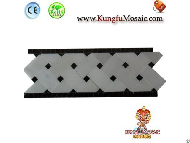White Marble With Black Edges Border Tile