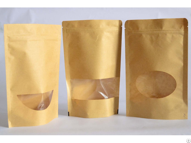 Kraft Paper Bag With A Oval Clear Window