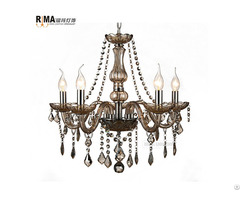 Rima Lighting 5 Arm Colored Glass Crystal Chandeliers