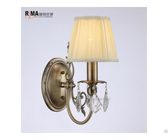 Goden Color Fabric Shade Antique Brass Crystal Wall Light