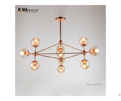Model Indoor Fancy Rose Gold Pendant Light With Glass Ball