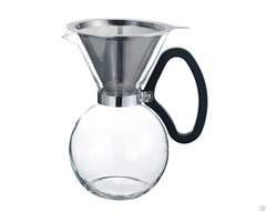 Pour Over Coffee Maker With Permanent Stainless Steel Mesh Filter Dripper Glass Carafe