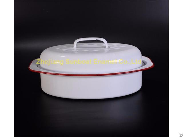 St R01 Cast Iron Enamel Roaster Pan