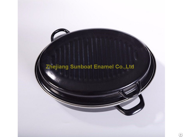 Heavy Duty Cast Iron Enamel Roaster Pan With Cover