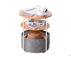 New Arrival Factory Prcie 3 Tier Round Storage Side Table With Fabric Basket Wholesale