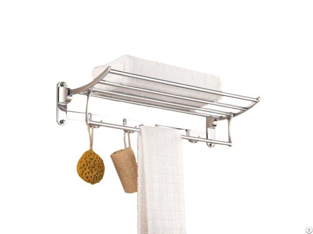 Hotel Modern Foldable Bathroom Wall Mounted Stainless Steel Towel Rack Rail Shelf