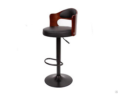 Walnut Bentwood Adjustable Height Leather Modern Bar Stool With Back Vinyl Seat