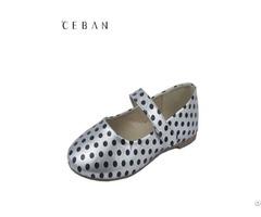 Girls Comfortable Casual Black Dot Velcro Pumps Flat Shoes