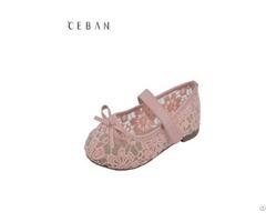 Girls Lace Flowers Princess Bowknot Velcro Flats Pumps Shoes Footwear